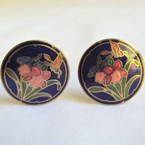 Cloisonne Floral Butterfly Design Clip On Earrings
